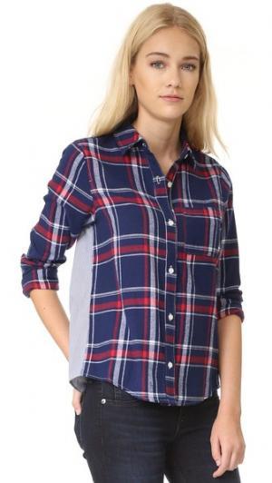 Рубашка  Too в клетку из разных материалов Clu. Цвет: темно-синий