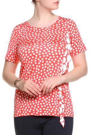Блуза ROSANNA PELLEGRINI. Цвет: коралловый, белый горох
