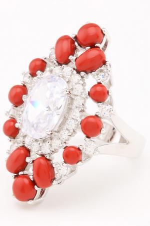 Кольцо Коралловый рай Judith Williams. Цвет: серебро, коралловый