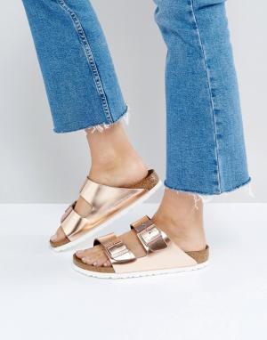Birkenstock Кожаные сандалии медного цвета с отделкой металлик Arizona. Цвет: медный