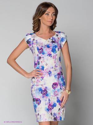 Платье KEY FASHION. Цвет: синий, светло-зеленый, фиолетовый