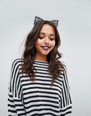 Missguided Кружевной ободок на голову Halloween. Цвет: черный