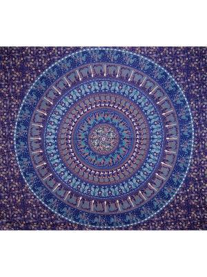 Покрывало декоративное набивное ETHNIC CHIC. Цвет: темно-синий, белый, синий