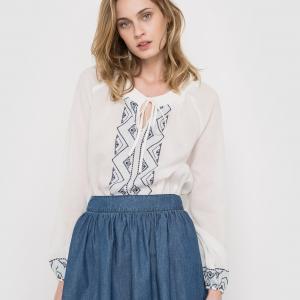 Блузка с длинными рукавами, вышивкой La Redoute Collections. Цвет: экрю