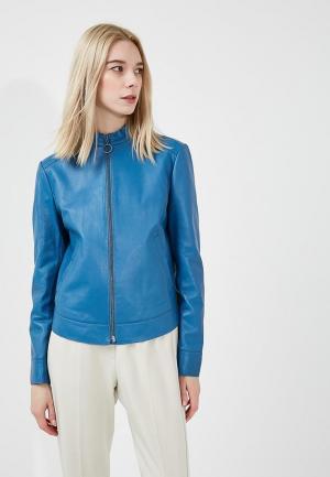 Куртка кожаная Sportmax Code. Цвет: синий