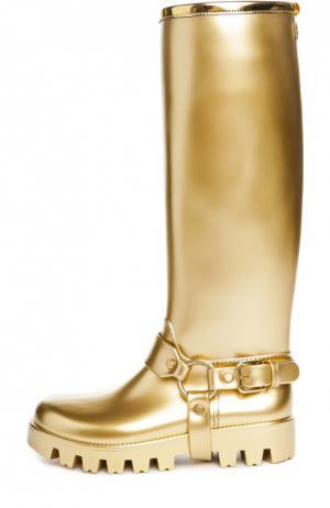 Резиновые сапоги Pioggia с ламинацией Dolce & Gabbana. Цвет: золотой