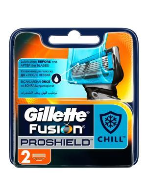 Сменные кассеты для бритвы Gillette Fusion ProShield Chill, 2 шт.. Цвет: черный, оранжевый, синий