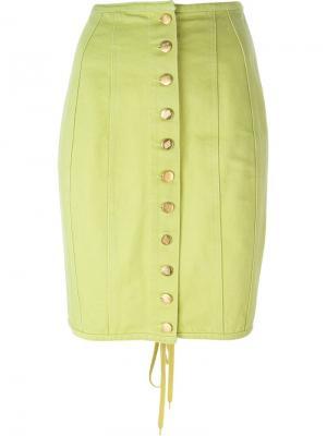Джинсовая юбка на пуговицах Jean Paul Gaultier Vintage. Цвет: зелёный