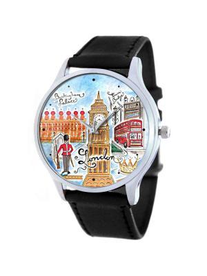 Дизайнерские часы London Tina Bolotina. Цвет: голубой, светло-коричневый, красный