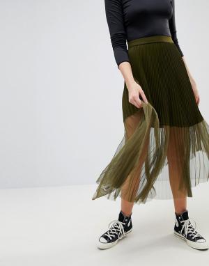 ASOS Плиссированная юбка макси. Цвет: зеленый