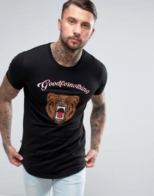 Good For Nothing Черная футболка с вышитым медведем. Цвет: черный