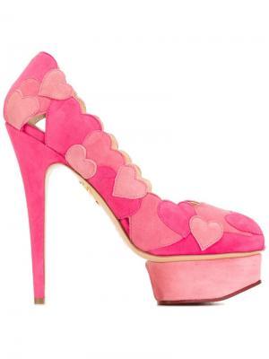 Туфли Love Me с аппликацией Charlotte Olympia. Цвет: розовый и фиолетовый