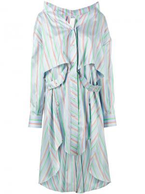 Асимметричное платье-рубашка в полоску Esteban Cortazar. Цвет: синий