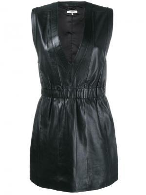 Платье мини с V-образным вырезом Ganni. Цвет: чёрный