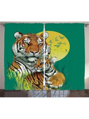 Комплект фотоштор для гостиной Тигрица и тигренок, плотность ткани 175 г/кв.м, 290*265 см Magic Lady. Цвет: зеленый, желтый, оранжевый