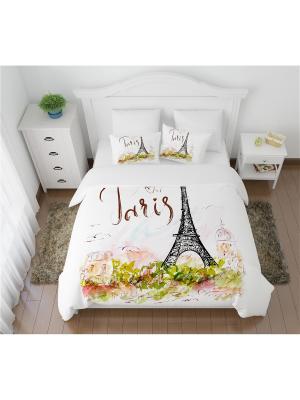 Постельное белье 1,5-спальное Открытка из Парижа Сирень. Цвет: белый, светло-зеленый, черный