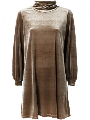 Велюровое платье Cityshop. Цвет: коричневый