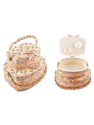 Набор шкатулок для рукоделия из 2-х шт. Русские подарки. Цвет: бежевый, белый