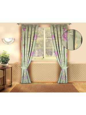 Комплект штор ZLATA KORUNKA. Цвет: зеленый, розовый