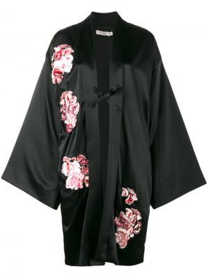 Кимоно с цветочной вышивкой Alice Archer. Цвет: чёрный