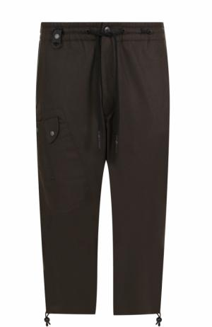 Шерстяные укороченные брюки с заниженной линией шага Y-3. Цвет: темно-зеленый