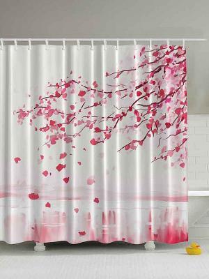 Фотоштора для ванной Цветущая ветка, влюблённая бабочка, розовые цветы, колибри и гибискус, 180x20 Magic Lady. Цвет: белый, розовый
