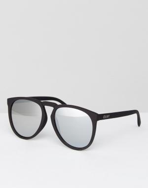 Quay Australia Круглые черные солнцезащитные очки с серебристыми зеркальными стеклами. Цвет: черный