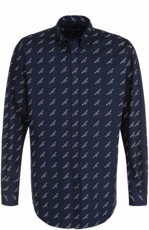 Хлопковая рубашка свободного кроя Balenciaga. Цвет: темно-синий