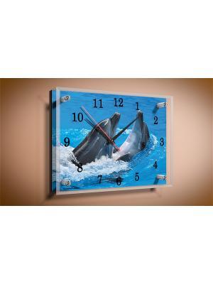 Настенные часы Дельфины  25х25 В576 PROFFI. Цвет: голубой, синий, серо-голубой, серый