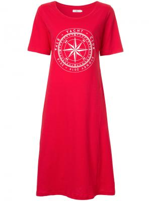 Платье-футболка Compass с логотипом Vale. Цвет: красный