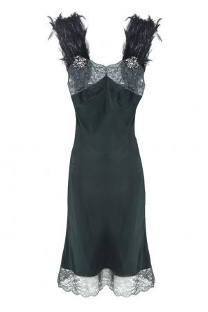 Шелковое платье Erickson Beamon. Цвет: зеленый