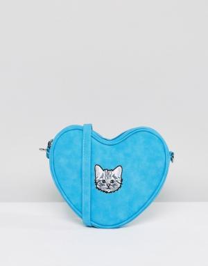 Lazy Oaf Голубая сумка в форме сердца с ремешком через плечо и вышитым котенком 6251002