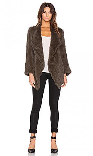 Меховое пальто cascade Jennifer Kate. Цвет: коричневый