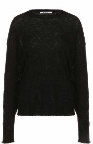 Пуловер свободного кроя с круглым вырезом T by Alexander Wang. Цвет: черный