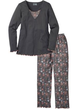 Пижама с длинными брюками (серый рисунком) bonprix. Цвет: серый с рисунком