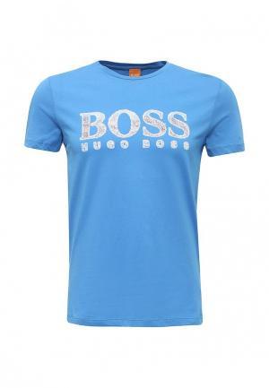 Футболка Boss Orange. Цвет: голубой