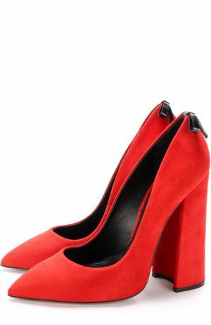 Замшевые туфли Monroe на устойчивом каблуке Aleksandersiradekian. Цвет: красный