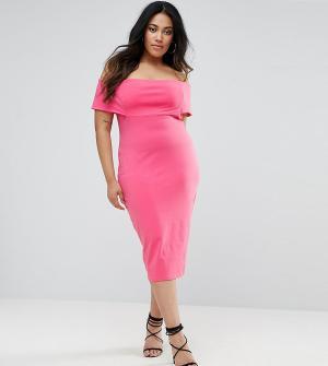 ASOS Curve Платье-футляр миди с глубоким вырезом лодочкой. Цвет: розовый