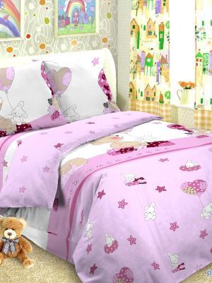 Комплект в кроватку Ясли Letto. Цвет: розовый