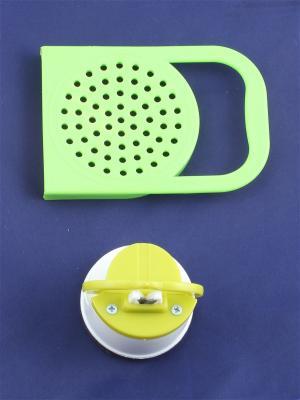 Точилка на присоске и крышка для слива с ручкой Радужки. Цвет: зеленый, салатовый