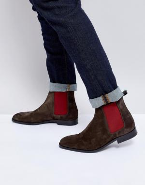 PS Paul Smith Темно-коричневые замшевые ботинки челси Gerald. Цвет: коричневый