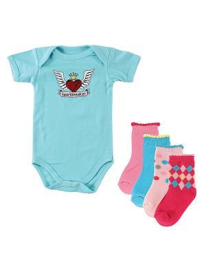 Комплект Боди к/р , 1 шт. + Носочки, 4 пары Luvable Friends. Цвет: бирюзовый, розовый