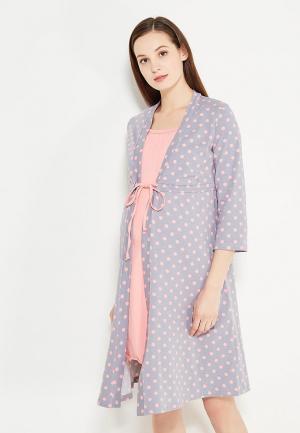 Комплект халат и сорочка Hunny mammy. Цвет: разноцветный