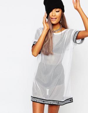 SHADE London Полупрозрачное сетчатое платье-футболка. Цвет: белый