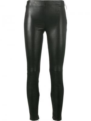 Кожаные леггинсы Saint Laurent. Цвет: чёрный