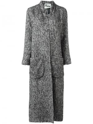 Пальто с V-образным вырезом 8pm. Цвет: серый