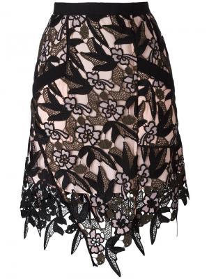 Кружевная юбка Nina Self-Portrait. Цвет: чёрный