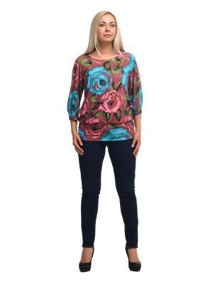 Блузка OLSI. Цвет: зеленый, голубой, розовый