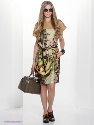 Платье Henry Cotton's. Цвет: бежевый, зеленый, коричневый
