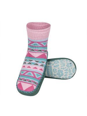Тапочки-носочки детские SOXO. Цвет: зеленый, голубой, розовый